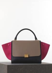 Celine Pink/Taupe/Black Smooth Calfskin Trapeze Medium Bag