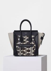 Celine Printed Watersnake and Calfskin Micro Luggage Bag