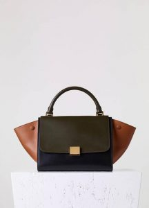 Celine Small Tricolor Trapeze Bag in Dark Brown - Fall 2015
