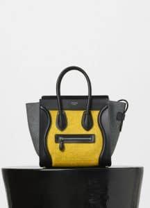 Celine Tri-color Felt and Lambskin Micro Luggage Bag