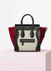 Celine Tri-color Textile and Calfskin Micro Luggage Bag