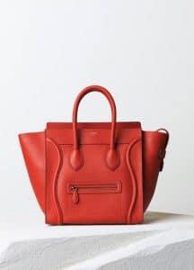 Celine Vermilion Drummed Calfskin Mini Luggage Bag