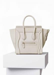 Celine White Goatskin Micro Luggage Bag
