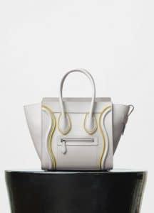Celine White Smooth Calfskin and Felt Micro Luggage Bag