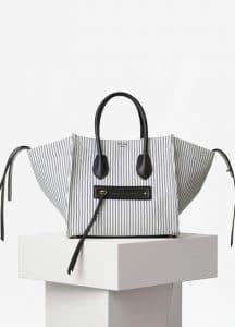 Celine White and Navy Textile Medium Luggage Phantom Bag