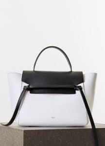 Celine White/Black Elephant Calfskin Mini Belt Bag