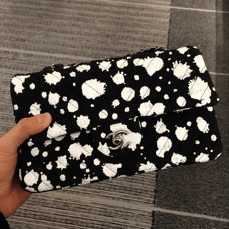 Chanel Black/White Paint Splatter Print Flap Bag
