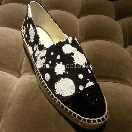 Chanel Black/White Splatter Double Sole Espadrilles