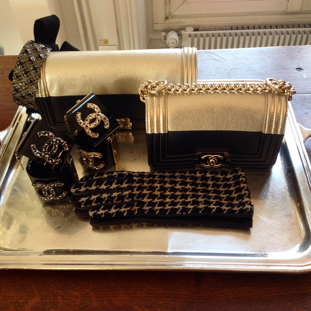 Chanel Gold and Black Boy Bags - Fall Winter 2015