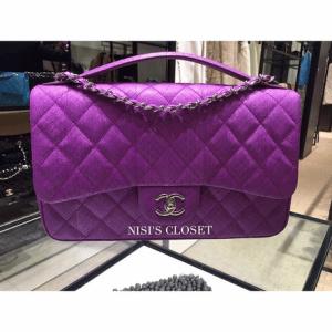 Chanel Purple Elaphe Easy Carry Large Bag