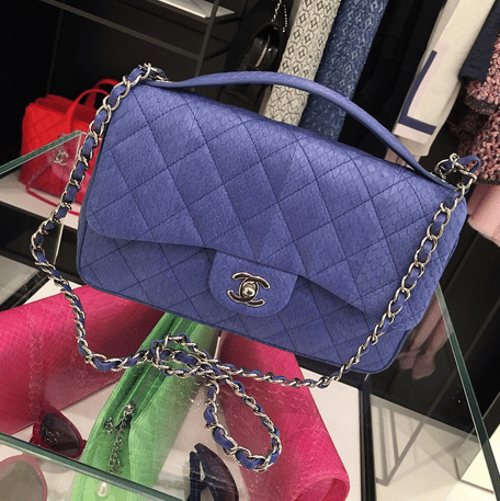 Chanel Violet Elaphe Easy Carry Large Bag