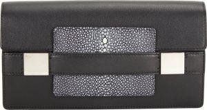 Delvaux Black Leather/Galuchat Madame Pochette Bag