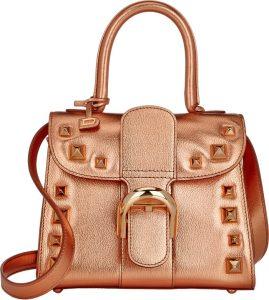 Delvaux Metallic Copper with Studs Brillant Mini Bag
