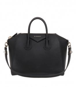 Givenchy Black Rubber Effect Antigona Medium Bag