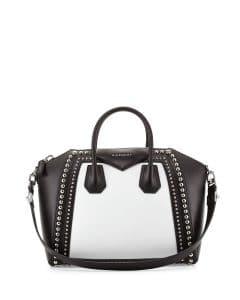 Givenchy Black/White Studded Antigona Medium Bag