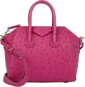 Givenchy Magenta Ostrich Antigona Mini Bag