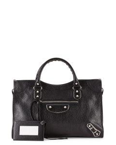 Balenciaga Black Metallic Edge Classic City Bag
