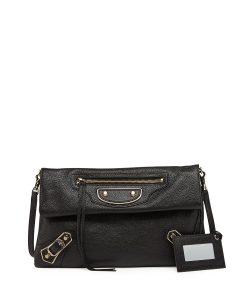 Balenciaga Black Metallic Edge Classic Envelope Clutch Bag