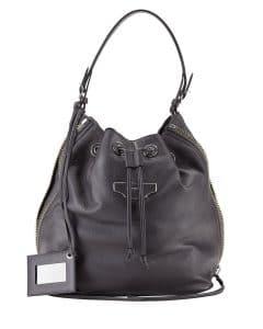 Balenciaga Black Papier Plate Side-Zip Bucket Bag