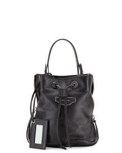 Balenciaga Black Papier Plate Side-Zip Bucket Small Bag