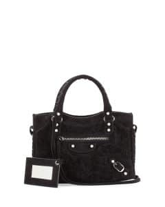 Balenciaga Black Shearling Fur Mini City Bag