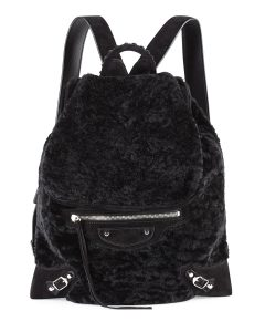 Balenciaga Black Shearling Fur Traveler Flap-Top Backpack Bag