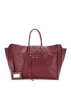 Balenciaga Burgundy Papier A4 Zip Around Tote Bag