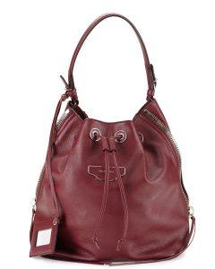 Balenciaga Burgundy Papier Plate Side-Zip Bucket Bag