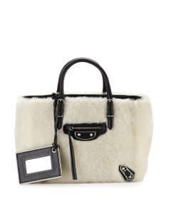 Balenciaga Cream/Black Metallic Papier A4 Shearling Fur Tote Bag