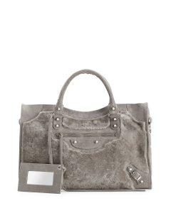 Balenciaga Gray Shearling Fur City Bag