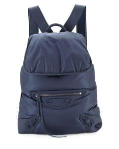 Balenciaga Navy Traveler Nylon Backpack