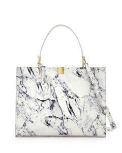 Balenciaga White Marble Le Dix Cabas Tote Bag