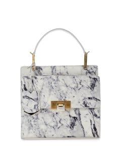 Balenciaga White Marble Le Dix Cartable Flap Satchel Bag