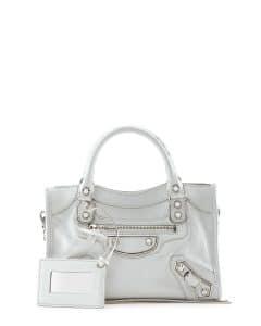 Balenciaga White Metallic Edge Mini City Bag