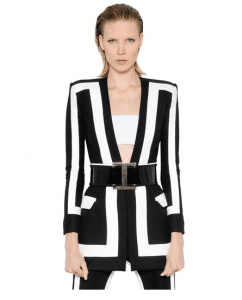 Balmain Two Tone Viscose and Silk Satin Jacket