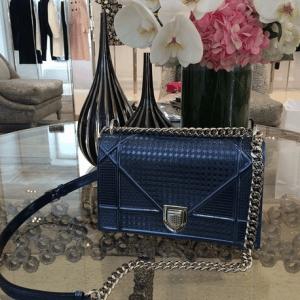 Dior Blue Metallic Perforated Diorama Bag