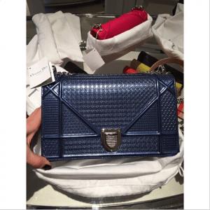 Dior Blue Metallic Perforated Diorama Bag 2