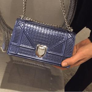 Dior Blue Metallic Perforated Diorama Mini Bag