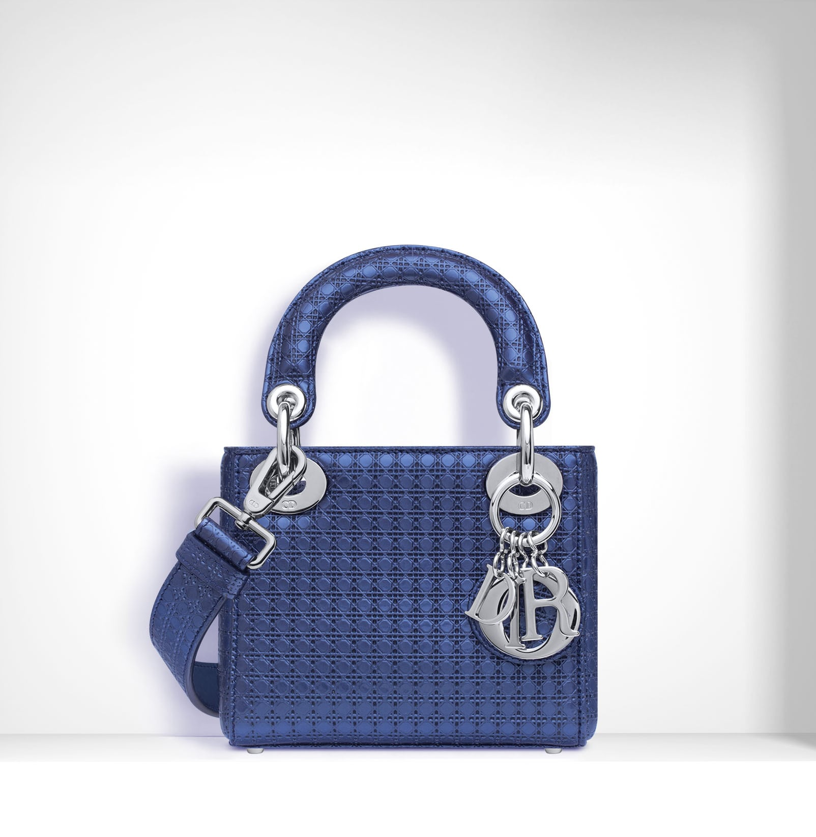 Dior Blue Metallic Perforated Lady Micro Bag