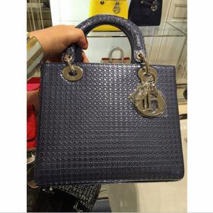 Dior Grey Perforated Lady Dior Bag