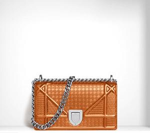 Dior Orange Metallic Perforated Calfskin Mini Bag