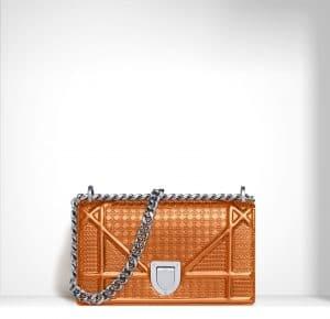 Dior Orange Metallic Perforated Diorama Mini Bag
