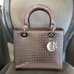 Dior Pink Metallic Perforated Lady Dior Bag