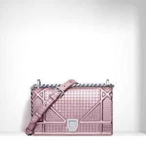 Dior Pink Perforated Calfskin Diorama Small Bag