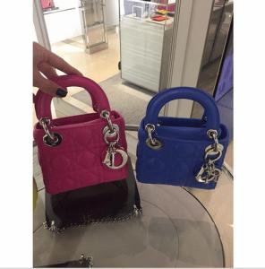 Dior Pink/Blue Lady Dior Micro Bags