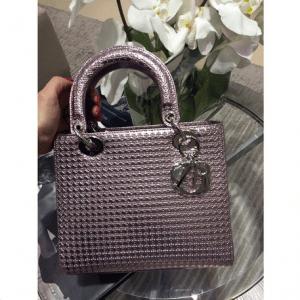 Dior Purple Metallic Perforated Calfskin Lady Dior Bag 1