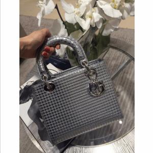 Dior Silver Metallic Perforated Calfskin Lady Dior Bag 1