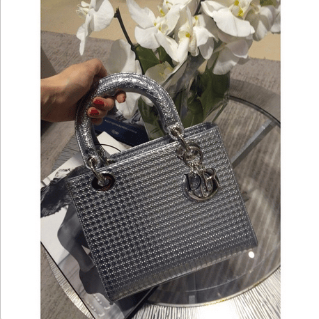 fbca9cf23 Dior Silver Metallic Perforated Calfskin Lady Dior Bag 1. IG: _na_zakaz_