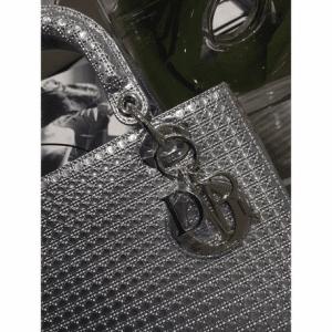 Dior Silver Metallic Perforated Calfskin Lady Dior Bag