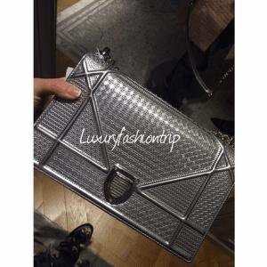 Dior Silver Metallic Perforated Diorama Bag 3